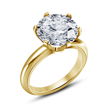 14K Gold Plated 925 Silver Round Cut White Cubic Zirconia Women's Wedding Ring - $55.25