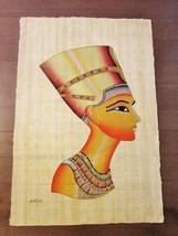 "XXL-Signed Handmade Papyrus Egyptian Queen Nefertiti Painting...38"" x 26... - $74.25"