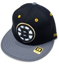 Boston Bruins NHL Reebok Black Logo / Gray Flat Visor Hat Cap FlexFit Fi... - $326,50 MXN
