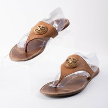 Tory Burch Womens Brown Tan Leather Thong Sandals Size 10.5 Slides Logo - $49.49