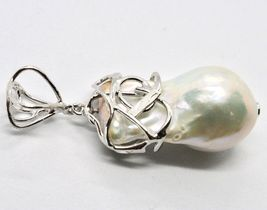 925 Silver Pendant with White Pearl FW Handcrafted Single Model image 7
