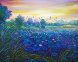 Original painting, acrylic paint on canvas, natural scenery, lotus field