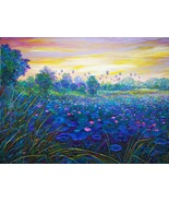 Original painting, acrylic paint on canvas, natural scenery, lotus field - $492.00