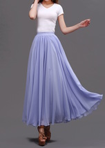 Lavender Purple Chiffon Skirt Women Chiffon Long Skirt Wedding Bridesmaid Skirts image 3