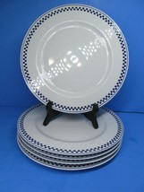 """Tognana Dinner Plate China Blue Checkerboard Pattern 10 3/4"""" Bundle of 5 - $57.82"""