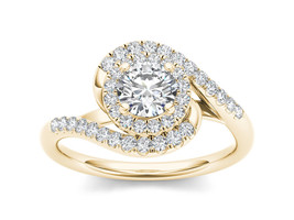 IGI Certified 14K Yellow Gold 1.00 Ct Diamond Bypass Single Halo Engagem... - $1,215.49