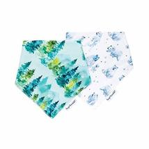 Tiny Twinkle Bandana Bibs 2 Pack - Forest Bear Set, Waterproof Super Absorbent D