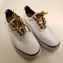 G H Bass And Co Mens Boat Shoe 7.5 White Classic Compass Sneaker Leather... - $18.65