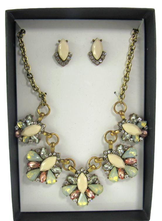 Primary image for K & M Designs Costume Jewelry Rhinestone Cream Statement Necklace & Earrings Set