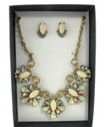 K & M Designs Costume Jewelry Rhinestone Cream Statement Necklace & Earr... - $11.83