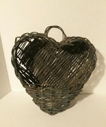 Vintage heart shaped rattan wicker wall hanging basket pocket - farmhous... - $37.40