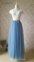 DUSTY BLUE Tulle Maxi Skirt High Waist Bridesmaid Tulle Skirt Blue Wedding Skirt image 13