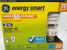 GE Lighting 97690 Energy Smart CFL 20-watt = 75 EQUIV T3 Spiral Light 3 ... - $14.69