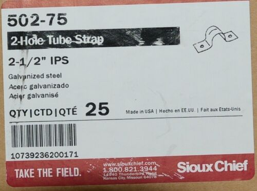Sioux Chief 502 75 Two Hole Tube Strap 2 1/2 Inch IPS Galvanized Steel Box of 25