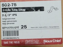 Sioux Chief 502 75 Two Hole Tube Strap 2 1/2 Inch IPS Galvanized Steel Box of 25 image 1