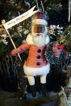 Vintage Inspired Spun Cotton Black Santa Ornament no.79 image 1