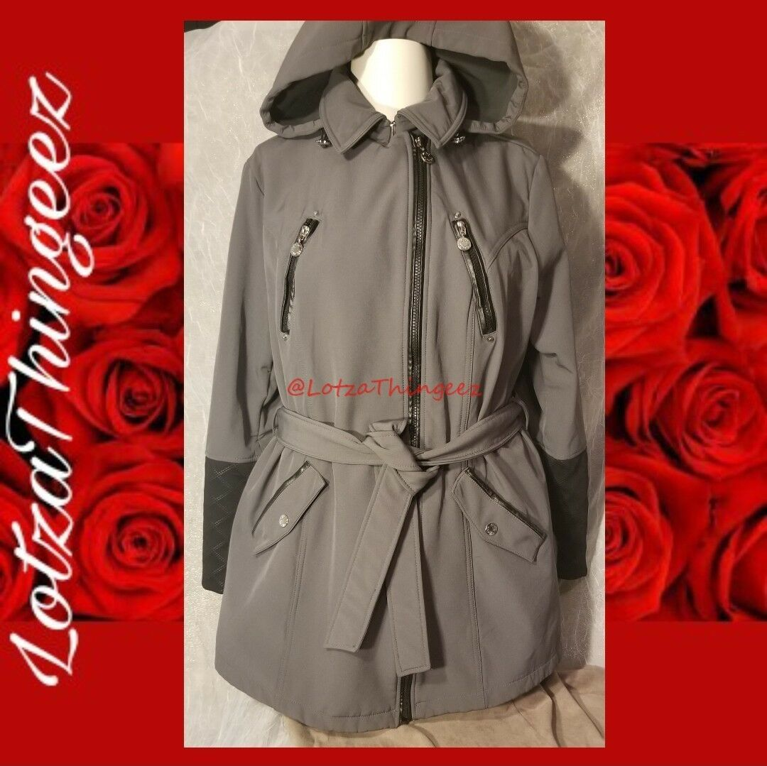 Betsey Johnson 1X Gray Black Midweight Fleece Hooded Jacket Coat Trench