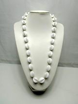 "Napier Acrylic White Plastic Necklace Ribbed Bead Gold Lurex Thread  31""... - $11.40"