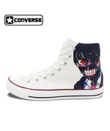 Onverse chuck taylor white shoes man woman anime tokyo ghouls design hand painted high thumbtall