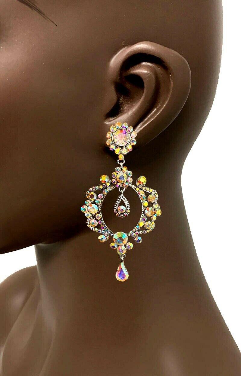 """3.5"""" Iridescente Aurora Borealis AB Crystals Vintage Inspired Hoop Earrings  - $20.90"""