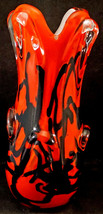 Bold Free Form Art Glass Vase Red/Orange with Black Squiggles Cased in Clear - $55.00