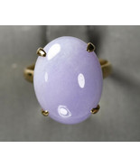 14K Yellow Gold Lavender jade ring 19ct, 6.4g Size 6 Excellent Condition - $395.00
