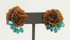 VINTAGE KITSCHY RETRO 50's HIGH END GLASS BEAD DANGLE EARRINGS GREAT COLORS - $10.00
