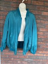 Bogari Silk Jacket Medium Full Zip Front Long Sleeve Lined Vintage Retro - $24.50