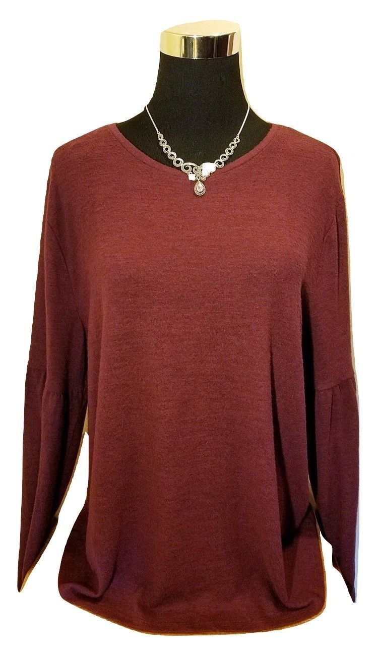 Primary image for Women's Dark Red Angel Sleeve Fuzzy Soft Knit Sweater - XL