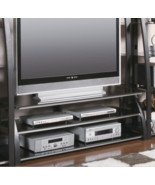 TV Stand Black for Home Theater Furniture Entertainment System Metal Gla... - $266.16