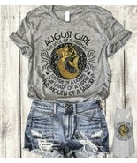 August Girl Soul Of A Mermaid Fire Of A Lioness T-Shirt Sport Grey Size ... - $16.82+