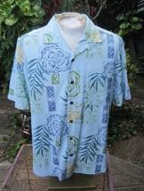 HAWAIIAN Aloha SHIRT M pit to pit 23 CARIBBEAN JOE rayon tropical foliage  - $11.71
