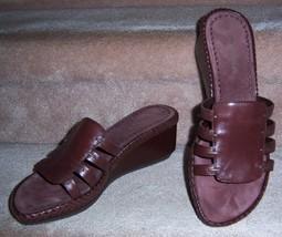 Enzo Angiolini Sandals Shoes Slip On Leather Platform Wedge Brown 9 M Vintage - $29.95