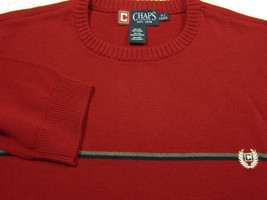 NEW Ralph Lauren Chaps Red With Black and Gray Stripe  Cotton Crew Sweater XL - $22.49