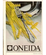 1980 Oneida Silverware Pasta Print Advertisement Vintage Kitchen Home De... - $6.33