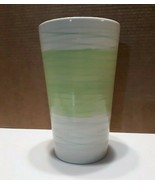 Large heavy ceramic vase - white with green & blue - 8.5 inches - Utensi... - $37.40