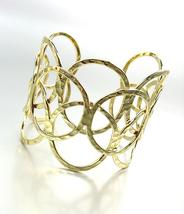 ARTISANAL Urban Anthropologie Gold Hammered Texture Rings Wide Cuff Bracelet - $17.99