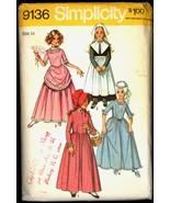 Sz 14 Bust 32 Girls Pilgrim Colonial Pioneer Dress Simplicity 9136 Pattern - $6.99