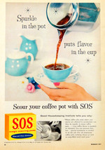 Vintage 1956 S.O.S sos kitchen cleaner coffee pot advertisement print ad... - $10.84