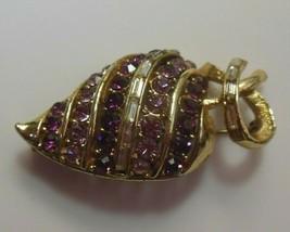 Vintage Signed Purple, Pink & Clear Baguette Rhinestone Strawberry Brooch - $40.10