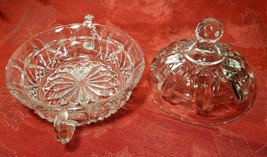Vintage Clear Pressed Glass Clear Covered Candy Dish With Handles image 2