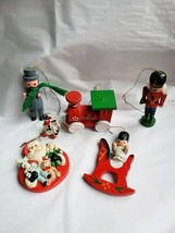 6 pc Vintage Wood Christmas Ornaments Nutcracker Soldier Rocking Chair T... - $11.68