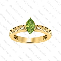 Solitaire Marquise Shape Peridot 14K Yellow Gp 925 Silver Engagement Ring  - £64.17 GBP