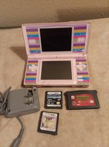 Nintendo DS Lite PINK Handheld System Console LOT 3 Games and charger - $35.00