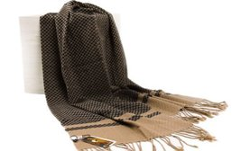 Men's Fleece Cashmere Feel Scarf Classic Plaids Infinity Scarf shawl Light Brown