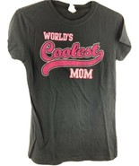 World's Coolest Mom Black Pink Women's T-Shirt Size L - $12.86