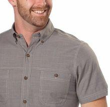 NEW G.H. Bass & Co. Men's Short Sleeve Crosshatch Woven Shirt - Pewter image 3