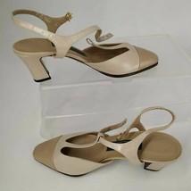 Easy Spirit Womens Slingback Pump Block Heels Shoes Beige Ankle Strap Buckle 7 - $19.24