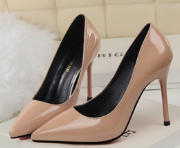 9AB018 Candy color pointy pumps,stiletto, patent leather,size 4-8.5, nude - $78.80