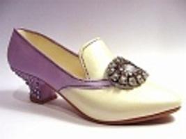 Jeweled Heel Pump Rhinestone Broach Purple Cream Short Heel Just the Rig... - $24.99